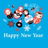 New Years greeting card on funny dolls Stock Images