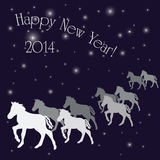 New Years greeting card. With horses in vector Royalty Free Stock Photos