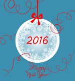 New years greeting with hanging ball Royalty Free Stock Photography