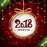 New Years greeting on red shiny background Royalty Free Stock Photo