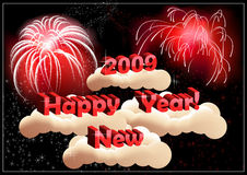 New_Years_greeting_in_the_sky_with_salut. New Years greeting in the sky with salut, vector illustration, AI files included Royalty Free Stock Photography