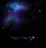New Years Greeting with Space Background. New Years Greeting with Space and Galaxy Background Stock Photography