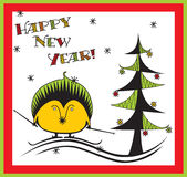New Years hedgehog. New Years card with hedgehog Stock Photography