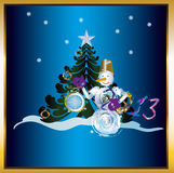 New Years.Holiday concept. Snowman and new yeas clock on a dark blue background Stock Photography