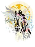 New Years horse. Illustration with New Year 2014 symbol of horse head Stock Image