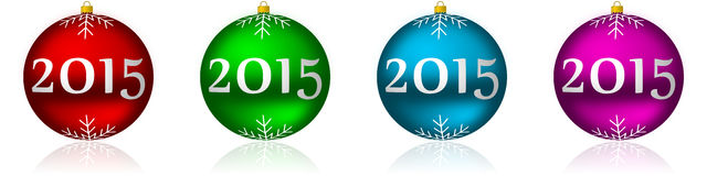 2015 new years illustration. With christmas balls stock illustration
