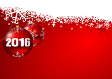 2016 new years illustration. With christmas balls and snowflakes Royalty Free Stock Images