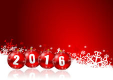 2016 new years illustration. With christmas balls and snowflakes on red background Royalty Free Stock Images