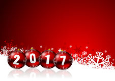 2017 new years illustration. With christmas balls and snowflakes on red background Royalty Free Stock Photo