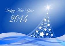 2014 new years illustration. With christmas tree Royalty Free Stock Images