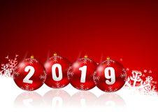 New years 2019 illustration with red christmas balls. New years 2019 illustration with christmas balls Stock Images