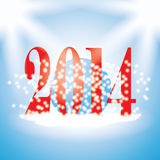 2014 new years illustration with snowflakes on blue background Stock Photography
