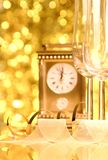 New Years. Image of New Years clock with a glasses of white wine Royalty Free Stock Image