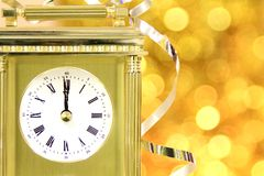 New years 2014. Image of New years eve celebration with a clock showing few minutes before midnight Stock Images