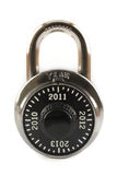 New Years Lock 2011. Combination lock with the new years 2010, 2011, 2012 and 2013 on it instead of numbers Royalty Free Stock Images