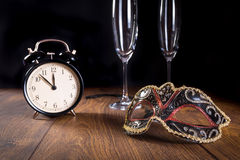 New years mask and clock Stock Image