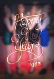 New years message against blurred pretty friends vector Stock Images
