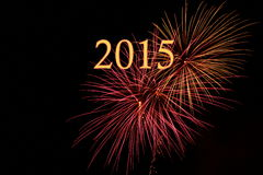 New Years 2015. Night sky with fireworks and text Stock Image