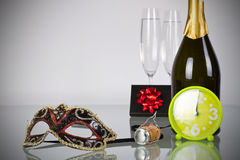 New Years party. New Year celebration with champagne Stock Images