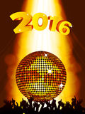 New Years party background with disco ball and crowd. New Years Party 2016 Background with Golden Disco Ball and Crowd Stock Photo