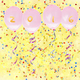 New Years party. New Years eve 2016 party baloons on festive background with confetti Stock Photo