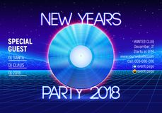 New years party invitation poster or flyer with 80s neon style and vinyl lp for dj. New years party invitation poster or flyer with vinyl lp for dj and retro 80s Stock Illustration