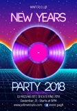 New years party invitation poster or flyer with 80s neon style and vinyl lp for dj. New years party invitation poster or flyer with vinyl lp for dj and retro 80s vector illustration