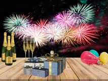 Free New Years Party Table With Champagne Drinks Gifts Balloons And Fire Works Background Stock Image - 126812011