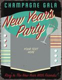 New Years Party Vintage Tin Sign Art Invitation Spell Checker Title Vintage Christmas Holiday Party Invitation Retro Tin Sign Art. New Years Party Vintage Tin royalty free illustration
