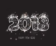 New Years 2018 polygonal line and fireworks background Royalty Free Stock Images