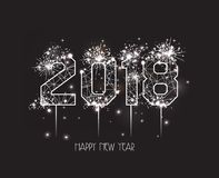 New Years 2018 polygonal line and fireworks background Royalty Free Stock Photo