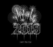 New Years 2019 polygonal line and fireworks background.  royalty free illustration