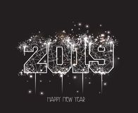 New Years 2019 polygonal line and fireworks background.  Stock Photo