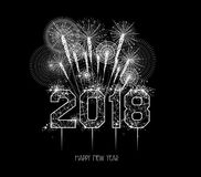 New Years 2018 polygonal line and fireworks background Royalty Free Stock Photos