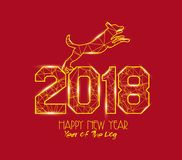 New Years 2018 polygonal line light background. Year of the dog.  royalty free illustration