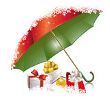 New Years red-green umbrella Royalty Free Stock Photography