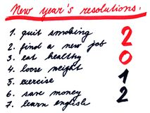New years resolutins list 2012. Usual new year´s resolutions. Handwriting notes Stock Photography