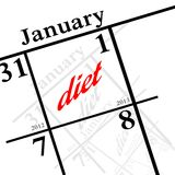 New years resolution. The new years resolution - lose weight stock illustration