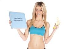 New years resolution banana upper body Stock Photography