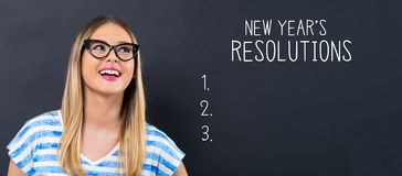 New years resolution with happy young woman royalty free stock images