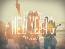 New years resolution message against beach party Stock Photography