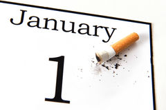 New Years Resolution quit smoking. Isolated on white background Royalty Free Stock Photos