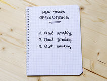 New Years Resolution quit smoking. New Years Resolution list of a smoker Stock Photo