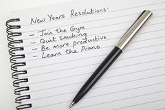 New Years Resolutions. Written on a note pad Royalty Free Stock Photo