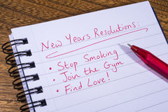 New Years Resolutions Royalty Free Stock Photos