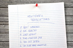 New Years resolutions listed Stock Photo
