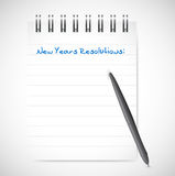 New years resolutions notepad list illustration. Design over a white background stock illustration