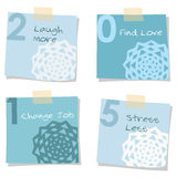 2015 new years resolutions,  notes. 2015 new years resolutions self improvement notes, greeting card,  isolated objects Royalty Free Stock Images