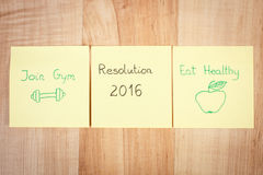 New years resolutions on yellow sheet of paper Royalty Free Stock Images