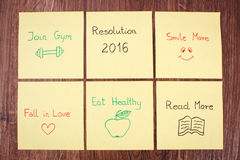 New years resolutions on yellow sheet of paper Royalty Free Stock Photo